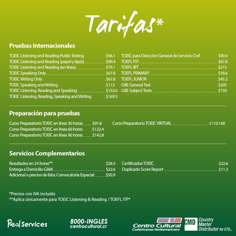 Tarifas pruebas+y+prep+courses+TOEIC